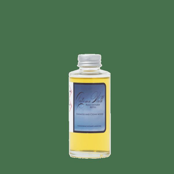 Glass diffuser refill bottle labelled Autumn Walk.