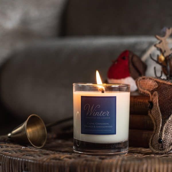 Lit candle with Winter written on the label. A felt Robin is in the background next to a knitted deer head.
