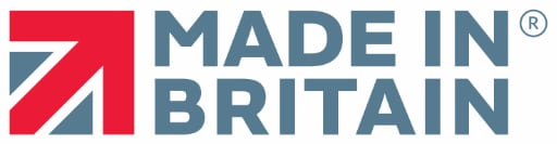 Made in Britain logo; with a squared union jack on the left hand side of the text and registered logo on the right of the text.